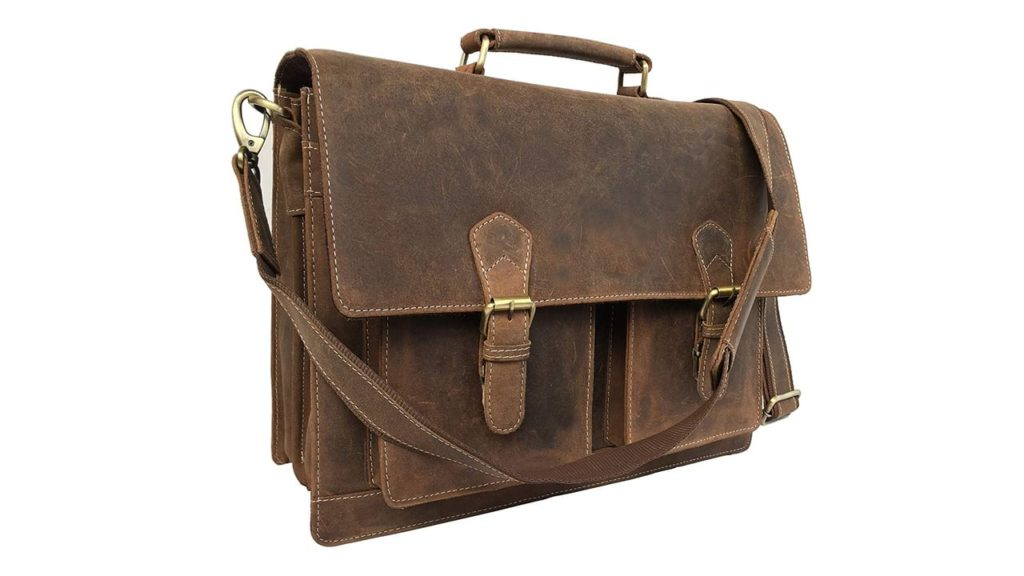 Leather Laptop Messenger Bag Vintage Briefcase Satchel for Men