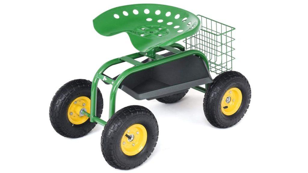Goplus Garden Cart Rolling Work Seat Outdoor