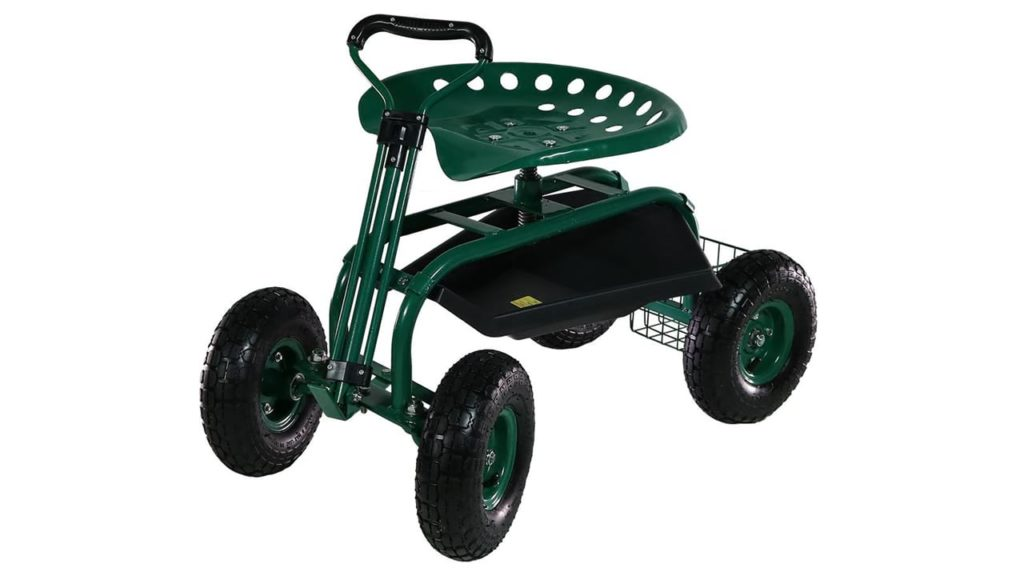 Sunnydaze Garden Cart Rolling Scooter with Extendable