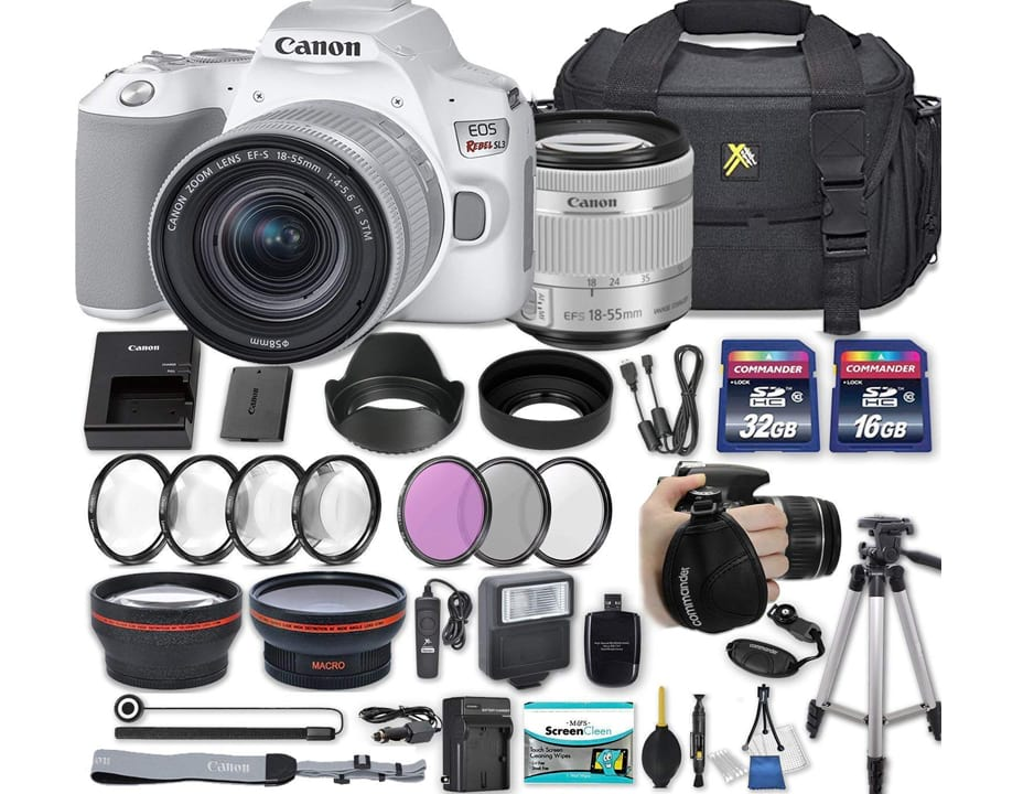 Canon EOS Rebel SL3 DSLR Camera (White) with EF-S 18-55mm f 4-5.6 is STM Lens