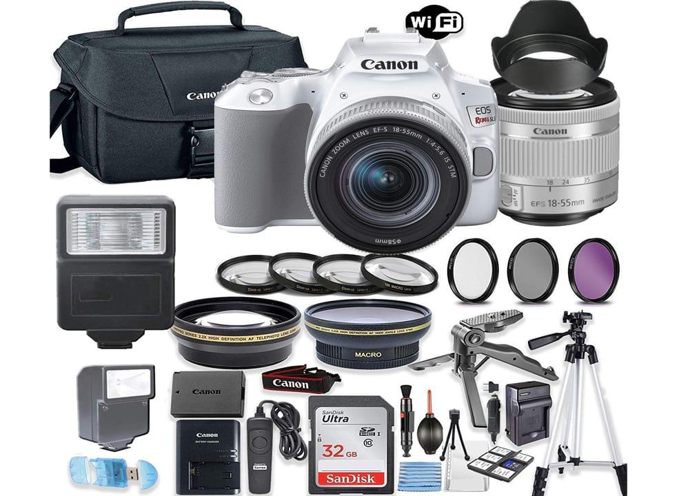 Canon EOS Rebel SL3 (White) DSLR Camera Bundle with Canon EF-S 18-55mm STM Lens