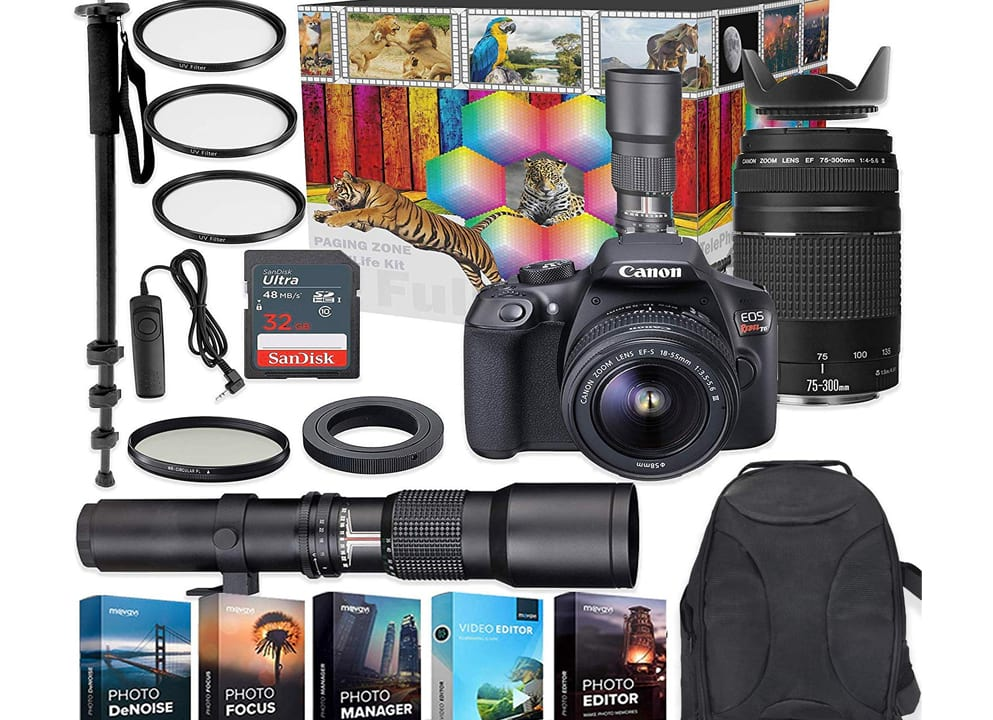 Canon EOS Rebel T6 DSLR Camera with 18-55mm 75-300mm Lenses