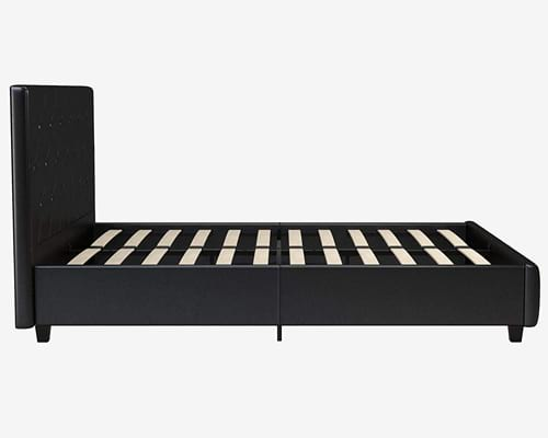 DHP Dakota Upholstered Faux Leather Platform Bed with Wooden Slat Support and Tufted Headboard and Footboard