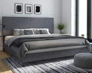 DHP Janford Upholstered Bed, King, Grey