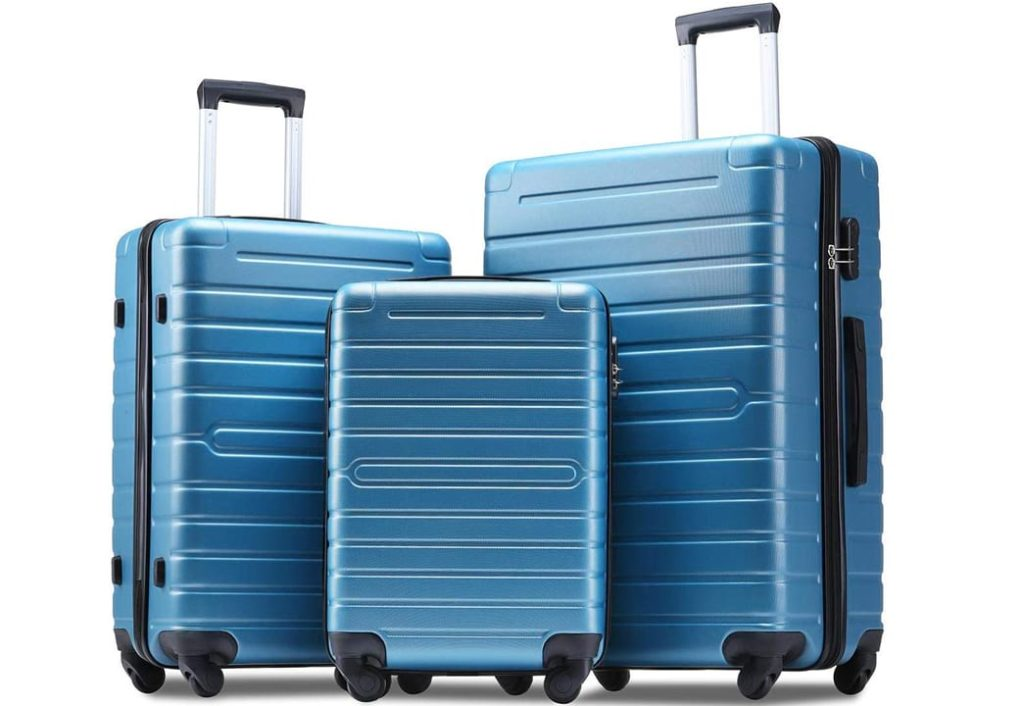 Flieks Luggage Sets 3 Piece Spinner Suitcase Lightweight 20 24 28 inch (steel blue)
