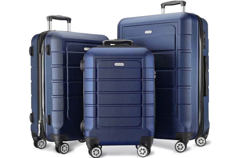 SHOWKOO Luggage Sets Expandable PC+ABS Durable Suitcase Double Wheels TSA Lock Blue