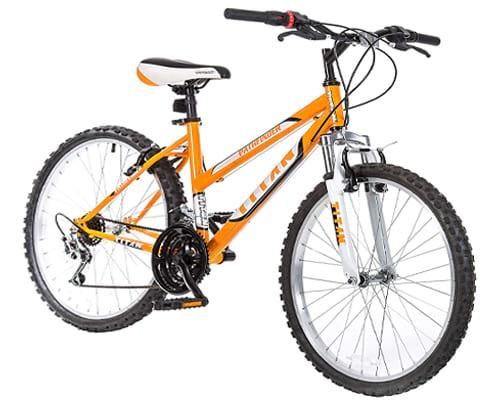 Titan Women's 18-Speed Pathfinder Front-Suspension Mountain Bike, Sunkissed Orange