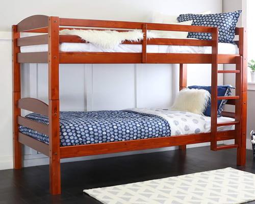 WE Furniture Classic Wood Twin Bunk Kids Bed Bedroom, Cherry