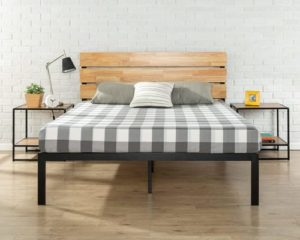 Zinus Paul Metal and Wood Platform Bed with Wood Slat Support, Queen
