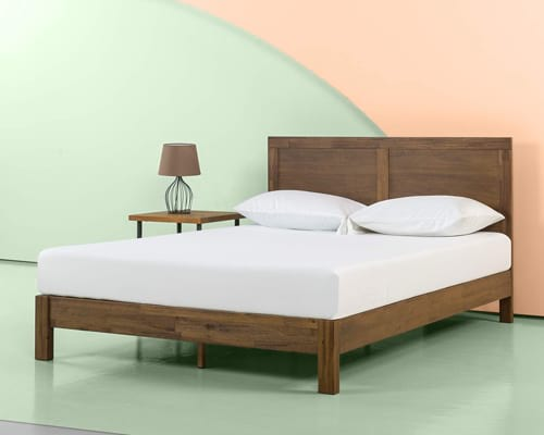 Zinus 12 Inch Acacia Wood Platform Bed with Headboard No Boxspring Needed