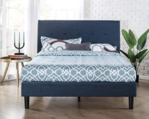 Zinus Omkaram Upholstered Navy Button Detailed Platform Bed Mattress Foundation