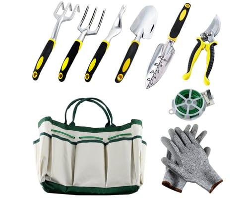 Auelife 9PC Garden Tools Set, Aluminum Alloy Hand Gardening Kit