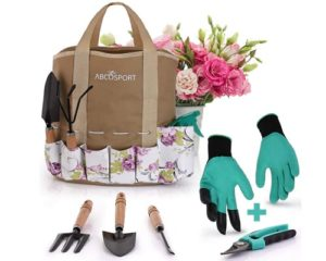 Garden Tools Set - 9 Piece Gardening Kit - Easy to Carry Tote Bag