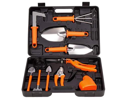LELEKEY Garden Tool Set,12 Piece Stainless Steel Heavy Duty Gardening Kit