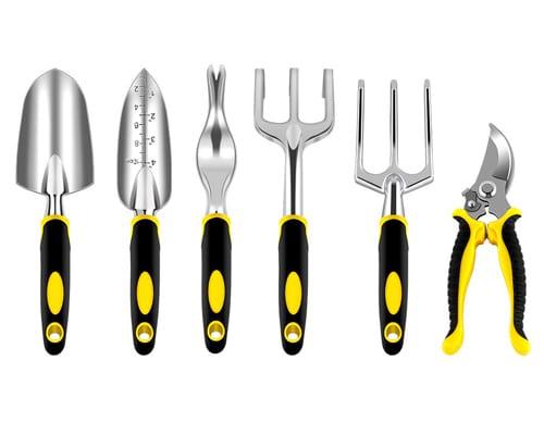 NEX Garden Tools Set, 6-Piece Gardening Kit with Heavy Duty