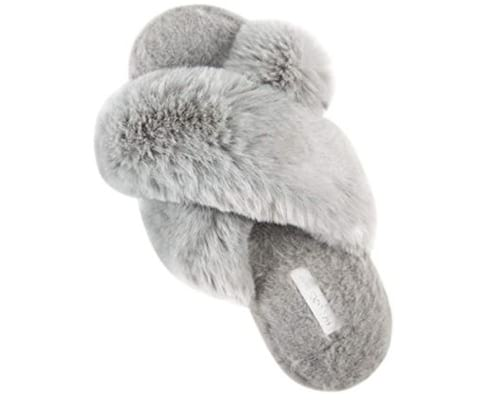 HALLUCI-Womens-Cross-Band-Soft-Plush-Fleece-House-Indoor-or-Outdoor-Slippers