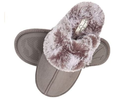 Jessica Simpson Womens Comfy Faux Fur House Slipper Scuff Memory Foam Slip on Anti-skid Sole