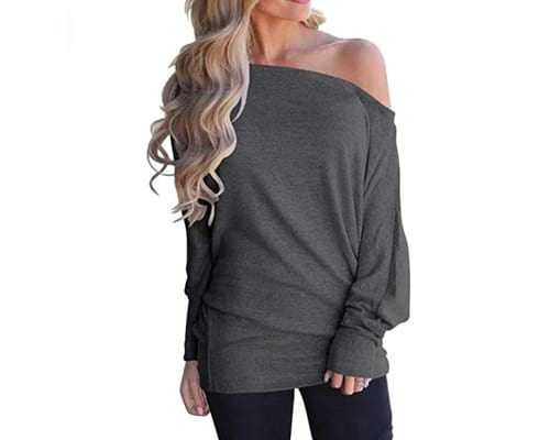 LACOZY Womens Off Shoulder Long Sleeve Oversized Pullover Sweater Knit Jumper Loose Tunic Tops