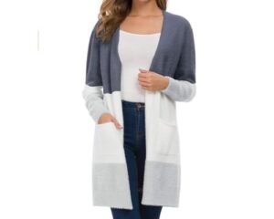 QIXING Womens Casual Open Front Knit Cardigans Long Sleeve Plush Sweater Coat with Pockets