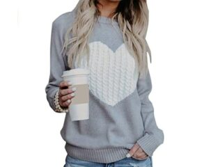 shermie Womens Pullover Sweaters Long Sleeve Crewneck Cute Heart Knitted Sweaters
