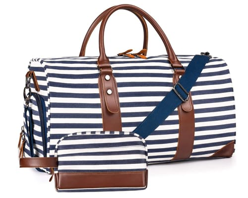 Oflamn 21 Weekender Bags Canvas Leather Duffle Bag Overnight Travel Carry On Tote Bag