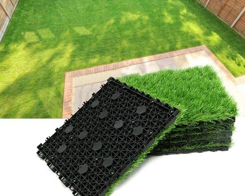 Progoal Artificial Grass Turf Tile Fake Grass Flooring Mat Interlocking Self-draining