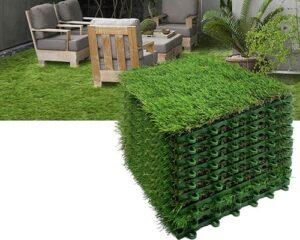 Reliancer 9PCS Artificial Grass Turf Interlocking Grass Tile Lawn Rug