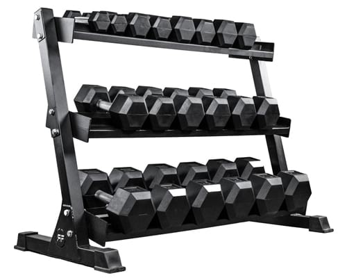 REP FITNESS Rubber Hex Dumbbell Set with Racks